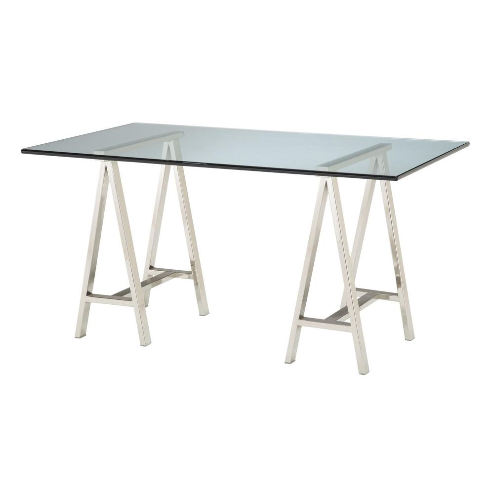Clear Glass Desk, Clear Glass/Polished Nickel