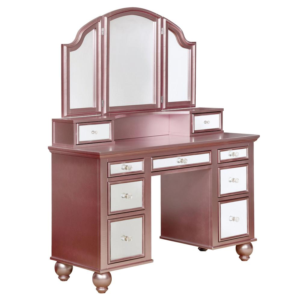 Furniture Of America Serena 2 Piece Rose Gold Mirror Panel Vanity Set
