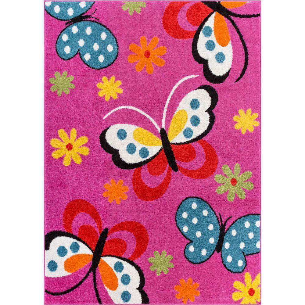 Well Woven StarBright Daisy Butterflies Pink 5 Ft. X 7 Ft