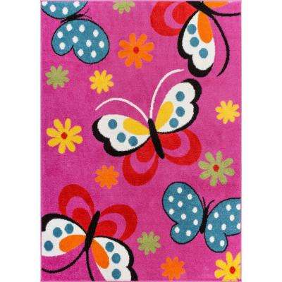 StarBright Daisy Butterflies Pink 5 ft. x 7 ft. Kids Area Rug