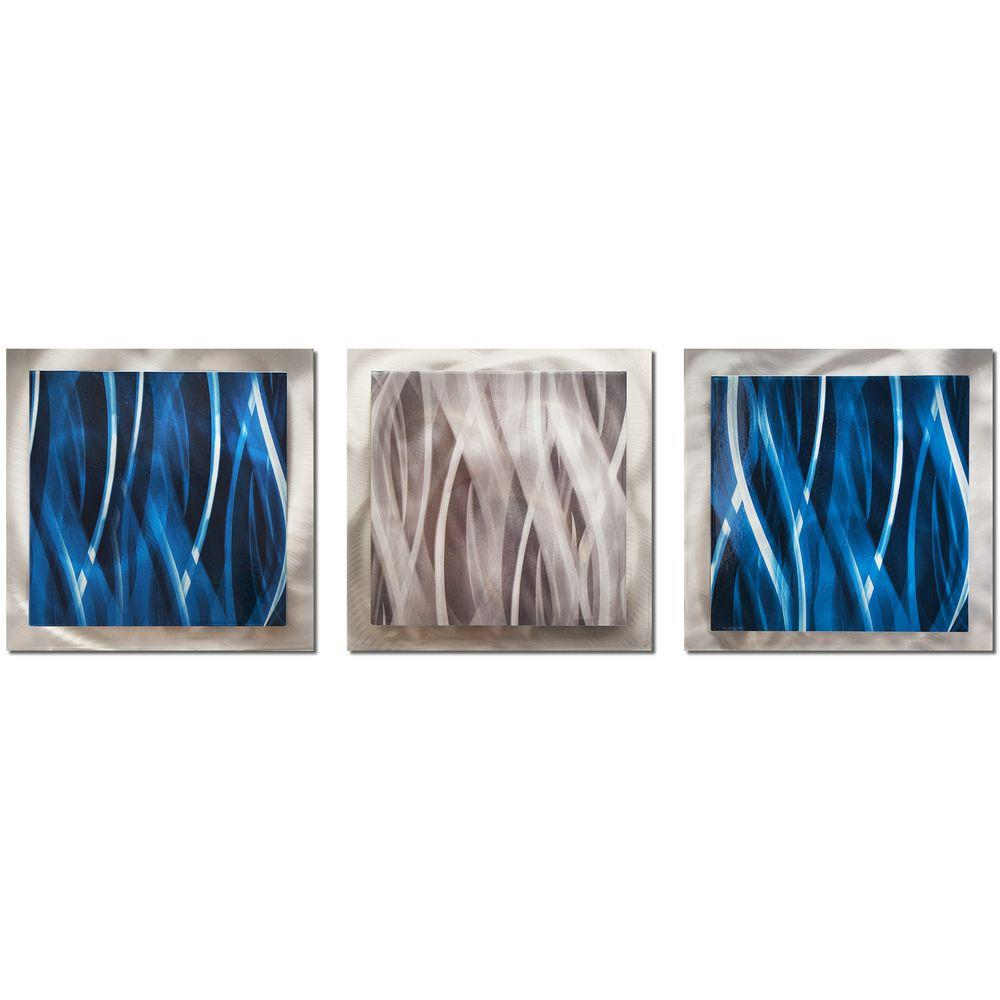 Blue Metal Wall Art Glamorous Filament Design Brevium 12 Inx 38 Inblue And Silver Essence 2018