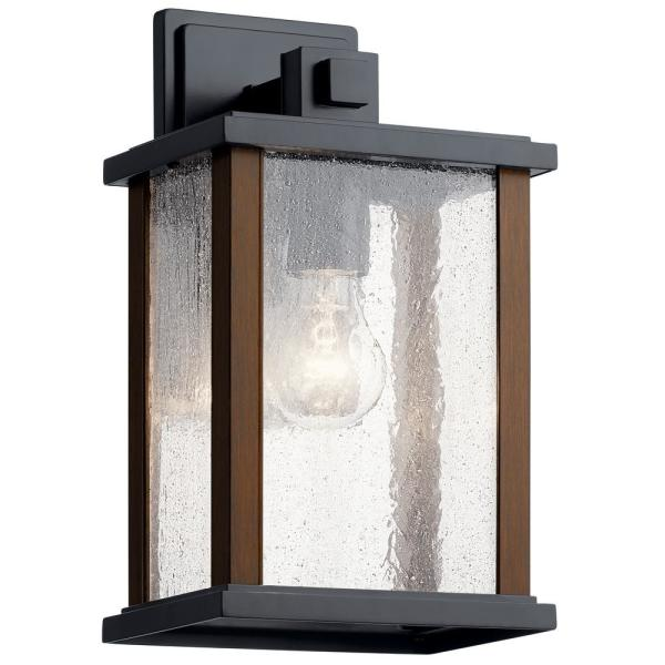 Marimount 12.75 in. 1-Light Black Outdoor Sconce with Clear Glass