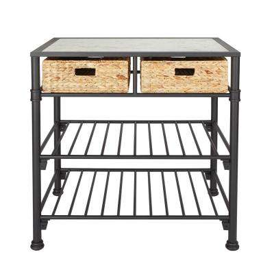 Alice Kitchen Island with Faux White Marble Top and Black Frame with Natural Woven Baskets, No Tools