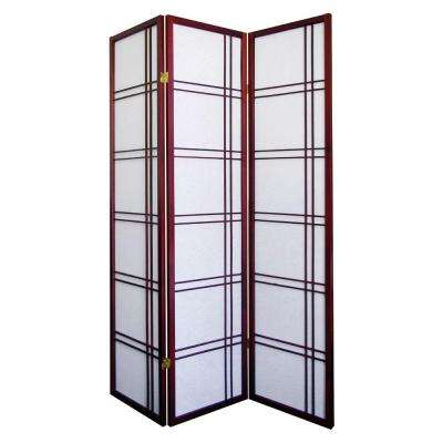 Girard 5.83 ft. Cherry 3-Panel Room Divider
