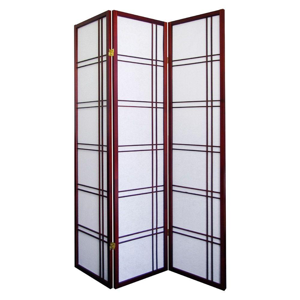 Girard 583 ft Cherry 3 Panel Room Divider R542CH The Home Depot