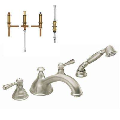 Kingsley 2-Handle Deck-Mount Roman Tub Faucet Trim Kit with Handshower and Valve in Brushed Nickel