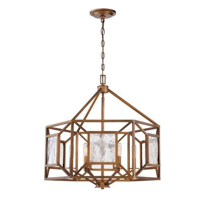 Athina 6-Light Gilded Bronze Chandelier with Clear Artisan Glass Shade