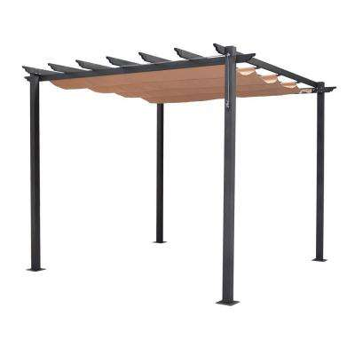 English Garden 9 ft. 10 in. x 7 ft. 8 in. Gunmetal Grey Aluminum Free Standing Retractable Canopy