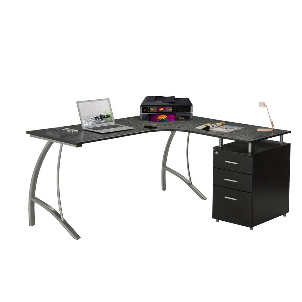 Techni Mobili 3333 in. L-Shaped Espresso 33 Drawer Computer Desk with File  Storage-RTA-33L-ES - The Home Depot