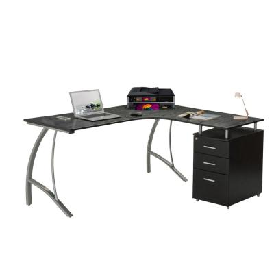 59 in. L-Shaped Espresso 3 Drawer Computer Desk with File Storage