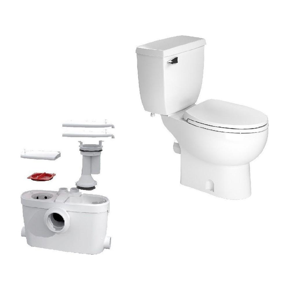 Saniflo SaniAccess3 2-Piece 1.280 GPF Single Flush Elongated Toilet with .5 HP Macerating Pump in White