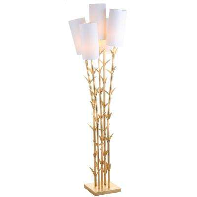 5 Light Gold/White Brass Floor Lamp