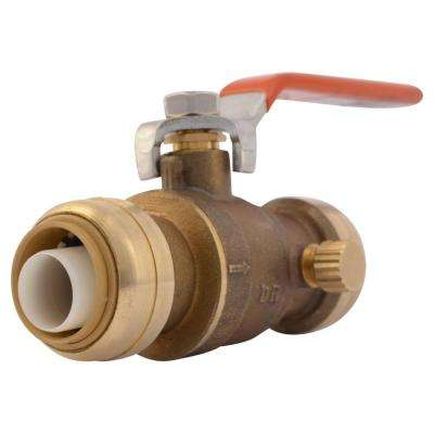 3/4 in. Brass Push-to-Connect Ball Valve with Drain
