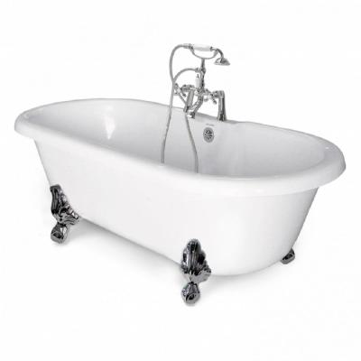 70 in. AcraStone Acrylic Double Clawfoot Non-Whirlpool Bathtub in White with Large Ball in Claw Feet in Faucet in Chrome