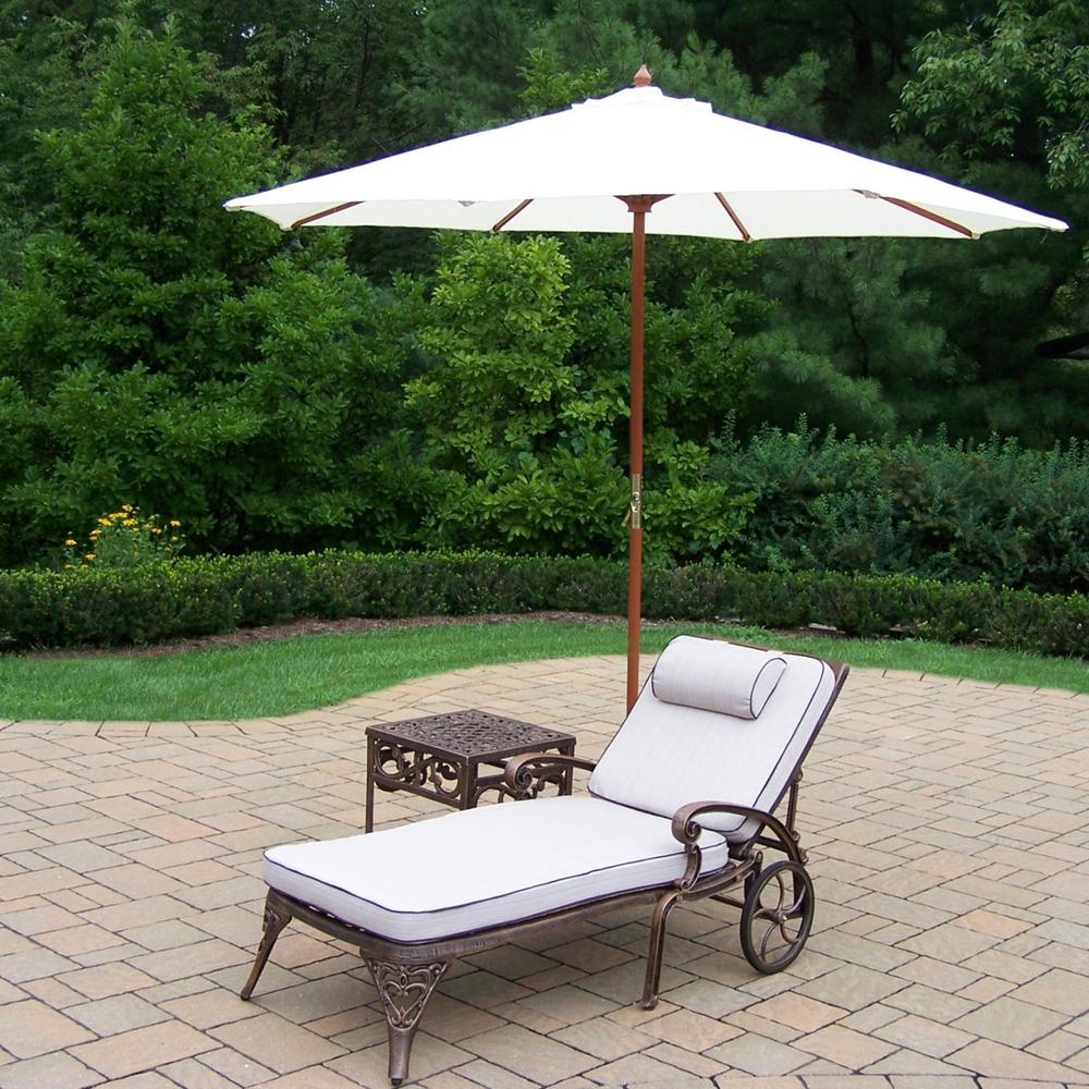 5 Piece Aluminum Outdoor Chaise Lounge Set With White Umbrella