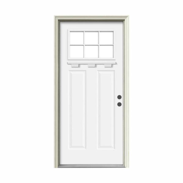 '' 36 in. x 80 in. 6 Lite Craftsman White Painted Steel Prehung Left-Hand Inswing Front Door w/Brickmould and Shelf''