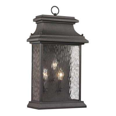 Peachtree Forge Collection 3-Light Charcoal Outdoor Sconce