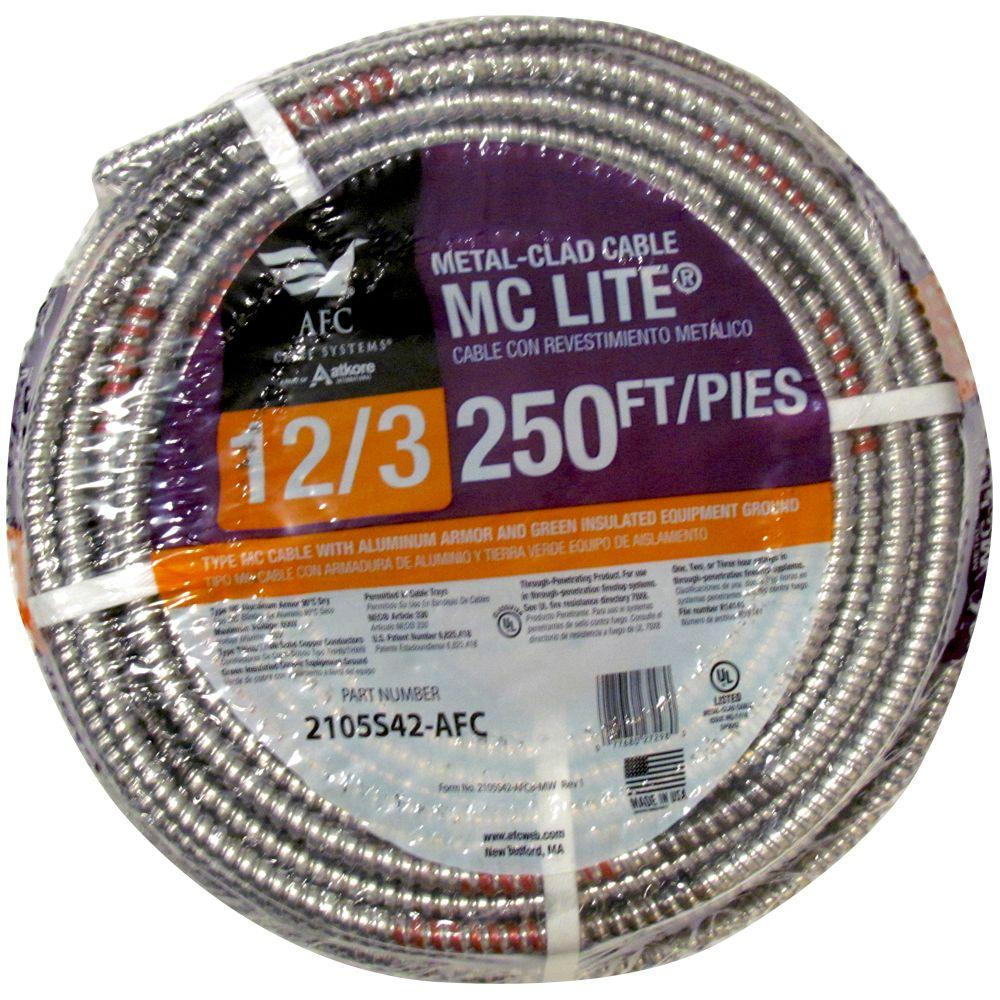 12/3 x 250 ft  solid mc lite cable