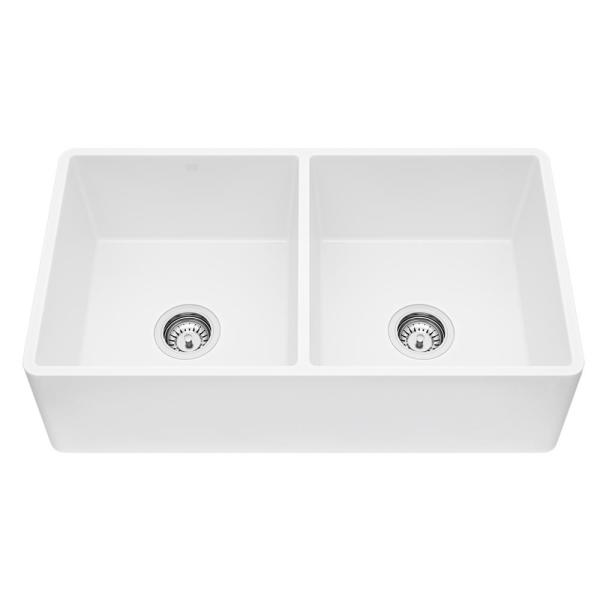 Matte Stone White Composite 33 in. Double Bowl Reversible Flat Farmhouse Apron-Front Kitchen Sink with 2 Strainers