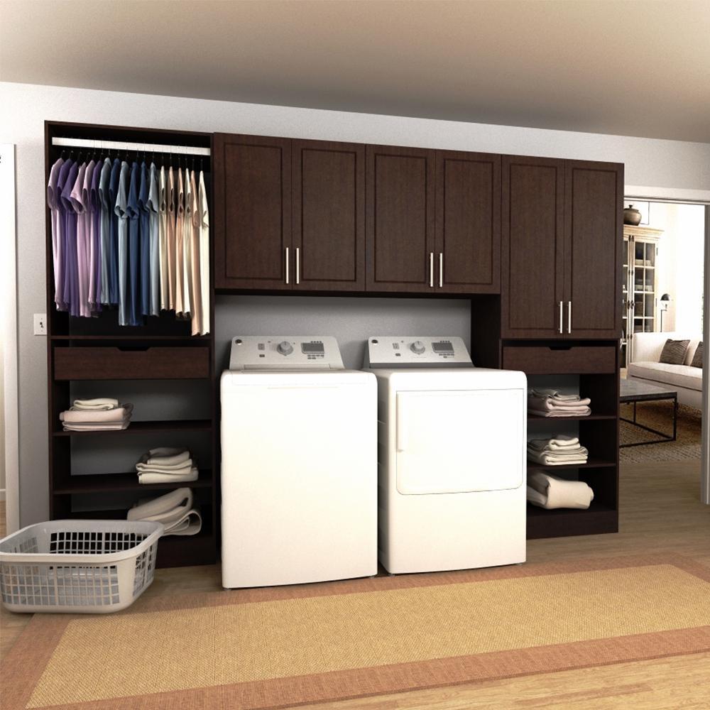 Madison 120 in. W Mocha Tower Storage Laundry Cabinet Kit