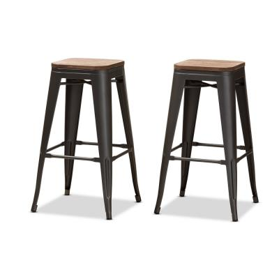 Henri 30 in. Gunmetal Gray and Oak Brown Bar Stool (Set of 2)