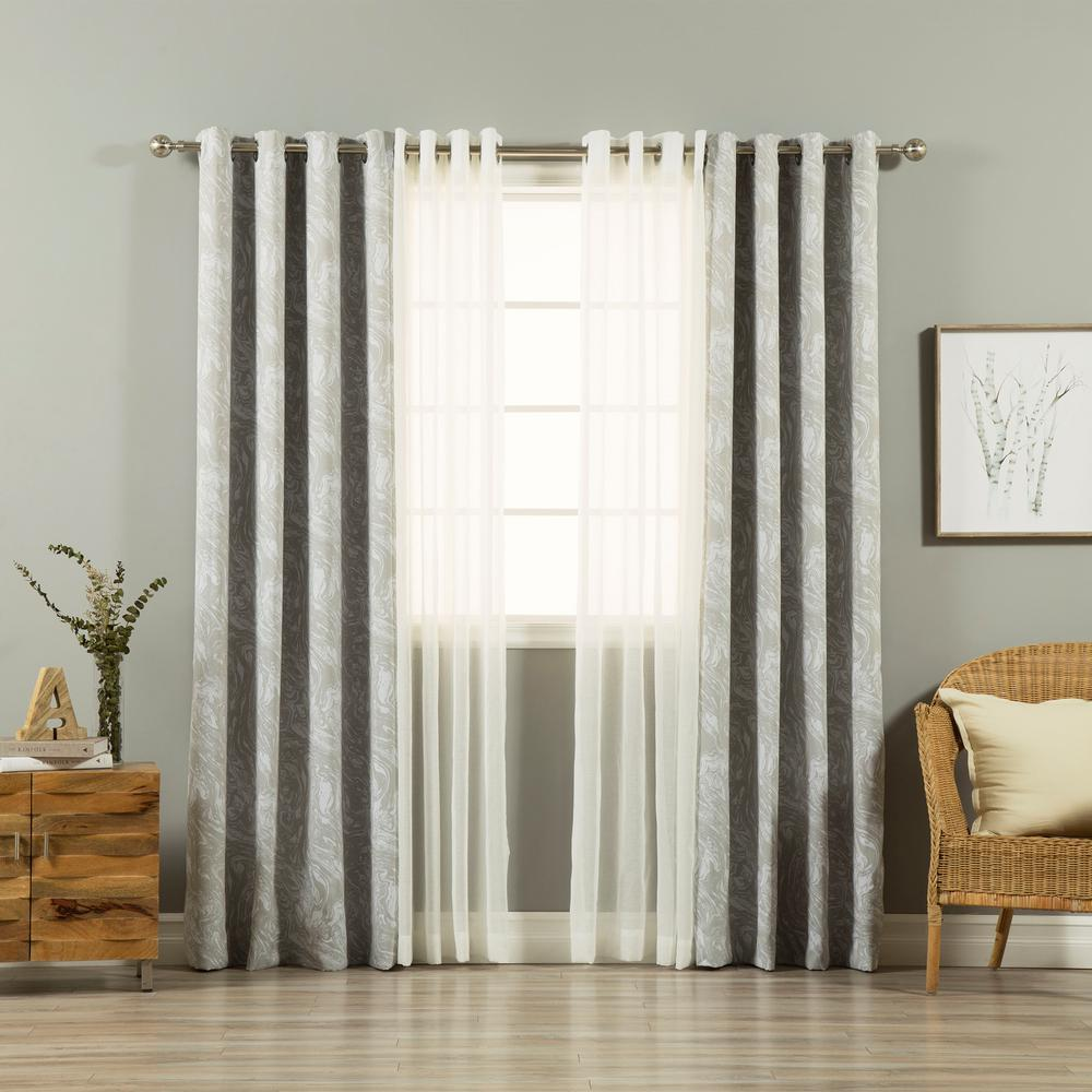 Dining Room Drapery Ideas: Grey 84 In. L UMIXm Sheer Linen Look And Marble Curtain (4