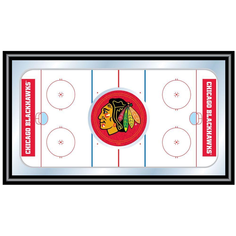 null NHL Chicago Blackhawks 15 in. x 26 in. Black Wood Framed Mirror