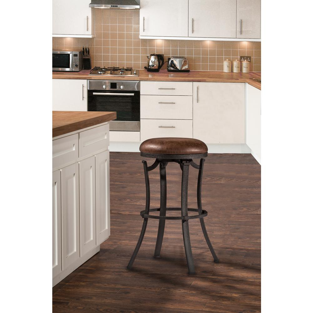 Hillsdale Furniture Dennery Swivel Barstool W Brown Vinyl