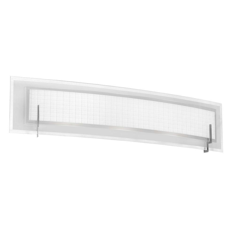 Frosted Linen 3-Light Satin Chrome Vanity Light with Frosted and Linen