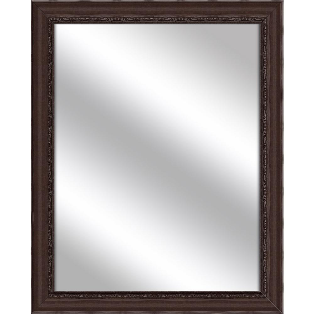32.375 in. x 26.375 in. Brown Framed Mirror