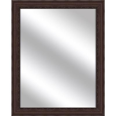Medium Rectangle Brown Art Deco Mirror (32.375 in. H x 26.375 in. W)