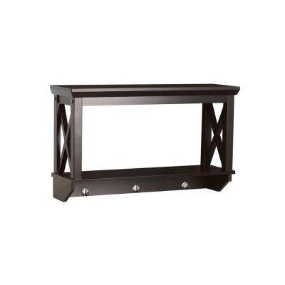 X-Frame 7-17/25 in. L x  15-7/20 in. H x 25-49/50 in. W Wall-Mount MDF 2-Shelf in Espresso