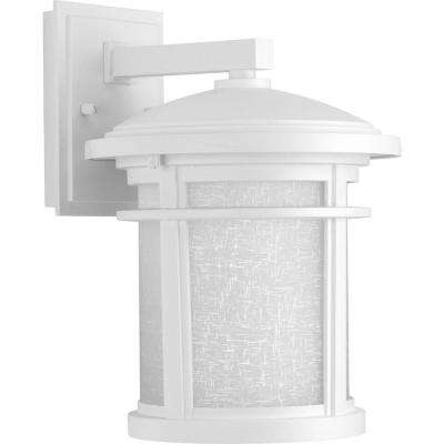 Wish Collection 1-Light 12.5 in. Outdoor Textured White LED Wall Lantern Sconce