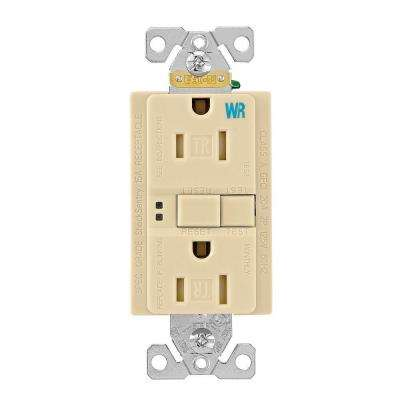 GFCI Self-Test 15A -125V Tamper and Weather Resistant Duplex Receptacle with Standard Size Wallplate, Ivory