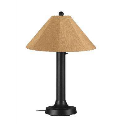 Catalina 34 in. Black Outdoor Table Lamp with Straw Linen Shade