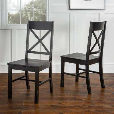 Millwright Antique Black Wood Dining Chair (Set of 2)