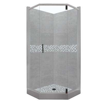 Del Mar Grand Hinged 32 in. x 36 in. x 80 in. Left-Cut Neo-Angle Shower Kit in Wet Cement and Black Pipe Hardware