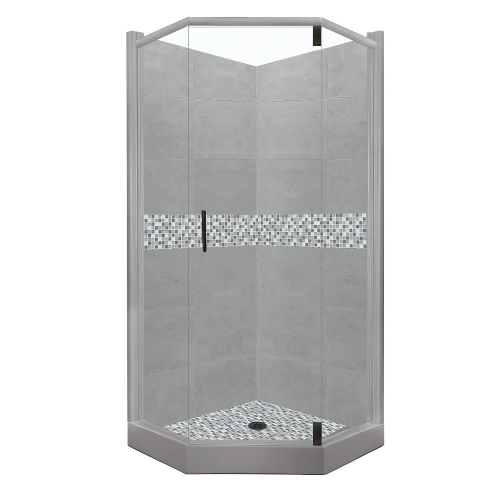 American Bath Factory Del Mar Grand Hinged 42 in. x 48 in. x 80 in. Left-Cut Neo-Angle Shower Kit in Wet Cement and Black Pipe Hardware