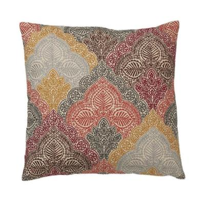 Embroidered Gold Paisley 20 in. x 20 in. Decorative Throw Pillow Cover