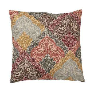 Embroidered Decorative Pillow Cover in Gold Paisley, 20 in. x 20 in.