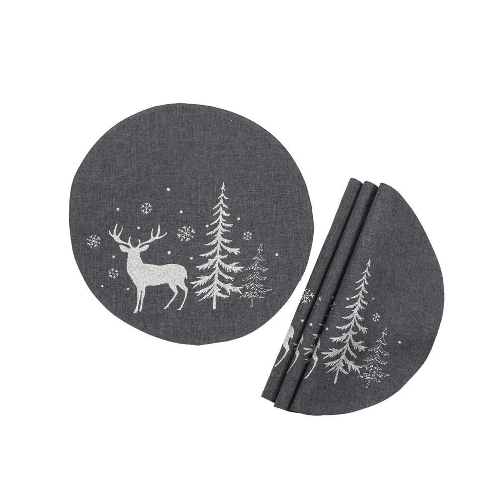Cloth Placemats Winter Wonderland Woodland Forest Trees Snowfall Deer Set of 2