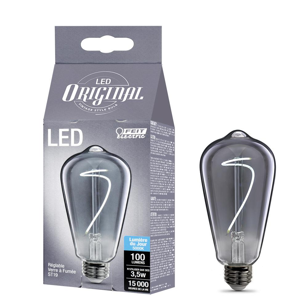 Feit Electric 25-Watt Equivalent ST19 Dimmable LED Smoke Glass Vintage Edison Light Bulb With Curve Filament Daylight