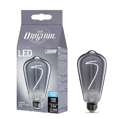 40W Equivalent ST19 Dimmable LED Smoke Glass Vintage Edison Light Bulb With Curve Filament Daylight