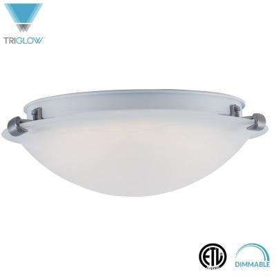 23-Watt White Alabaster Glass Fixture 16 in. Dimmable Integrated LED Flushmount
