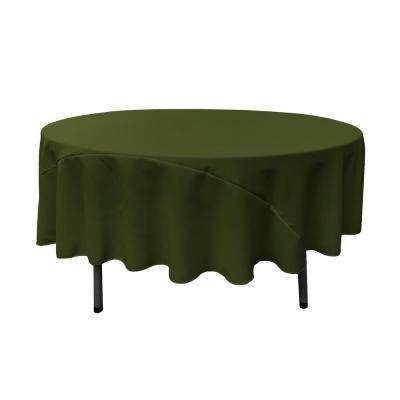 90 in. Olive Polyester Poplin Round Tablecloth
