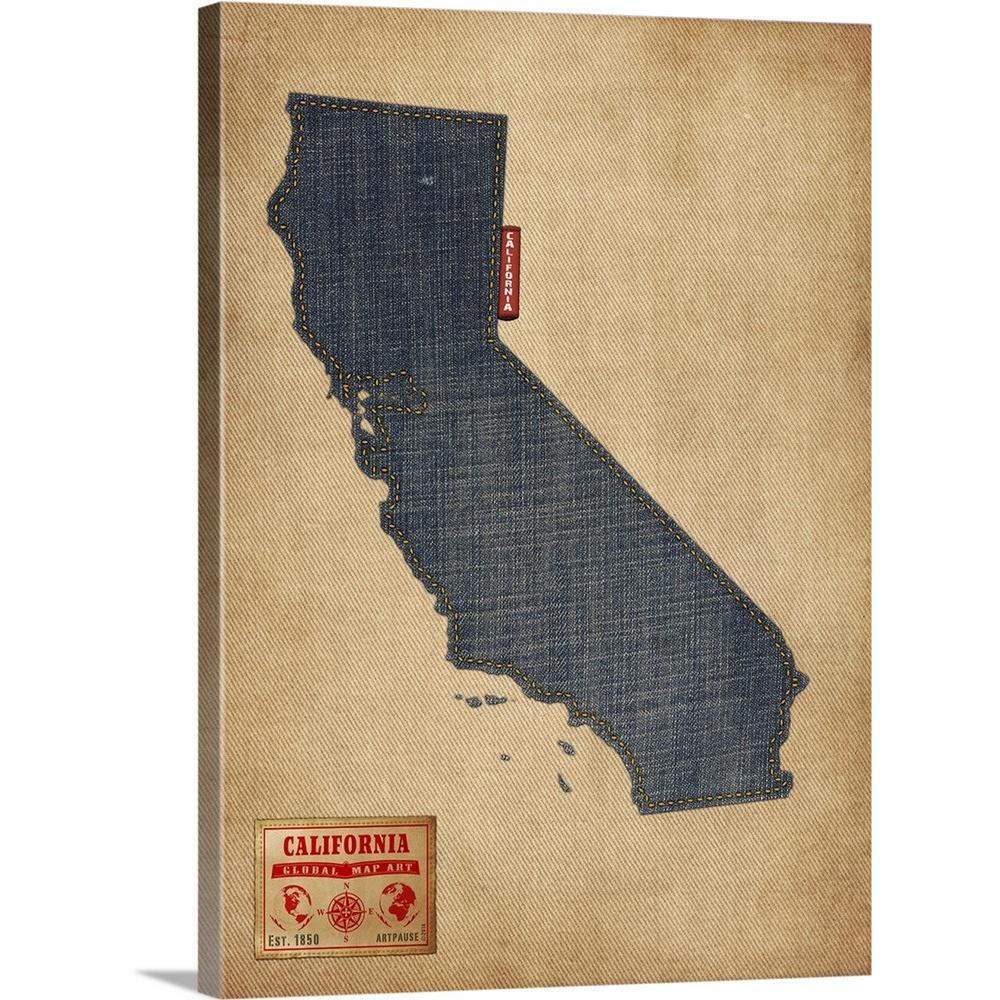 Greatbigcanvas 30 In X 40 In California Map Denim Jeans Style By