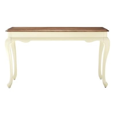 Provence Ivory Console Table with Ash Brown Top