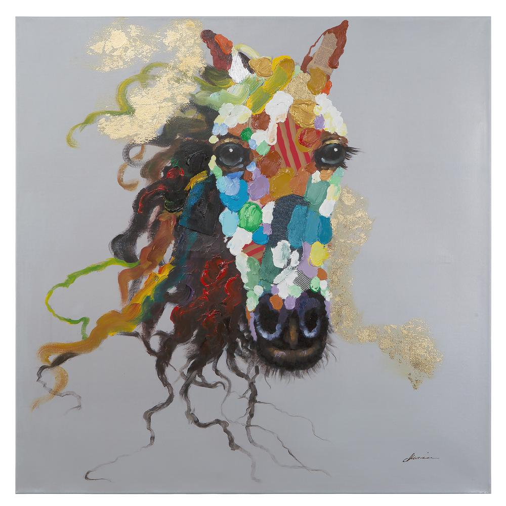 """Yosemite Home Decor 47.25 in. x 47.25 in. """"Horse of an Abstract Color"""" Hand Painted Contemporary Artwork"""