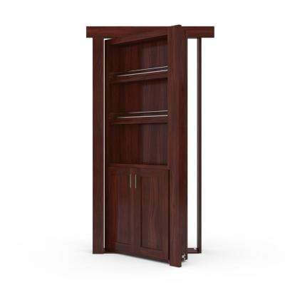 32 in. x 80 in. Flush Mount Assembled Forward Pantry Door Walnut Cherry Stained Right-Hand Outswing