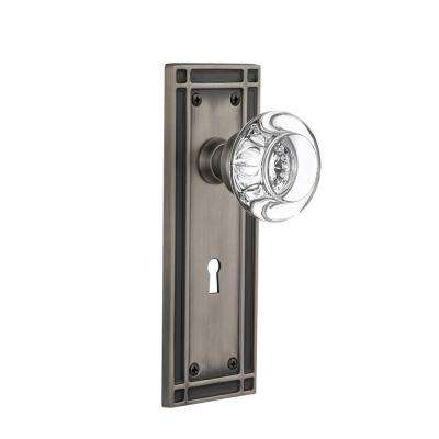 Mission Plate with Keyhole 2-3/4 in. Backset Antique Pewter Privacy Clear Crystal Glass Door Knob